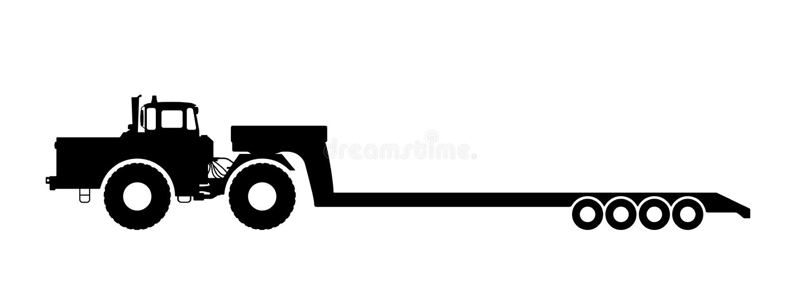 Silhouette of a tractor with a trailer. Vector illustration of a silhouette of a tractor on a white background vector illustration