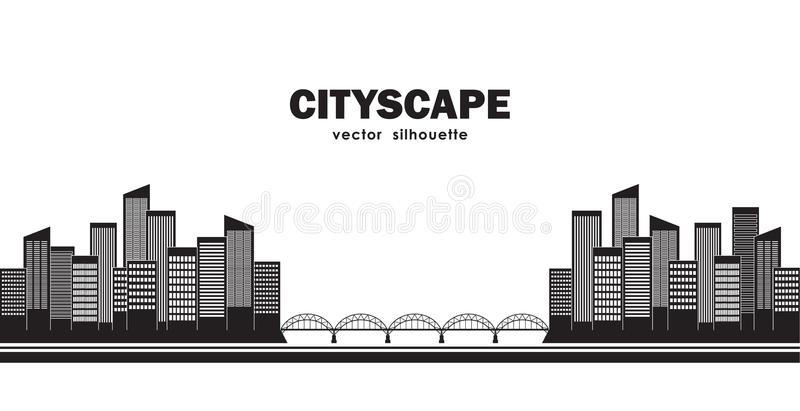 Silhouette of two cities connected by bridge. Isolated Cityscape. royalty free illustration