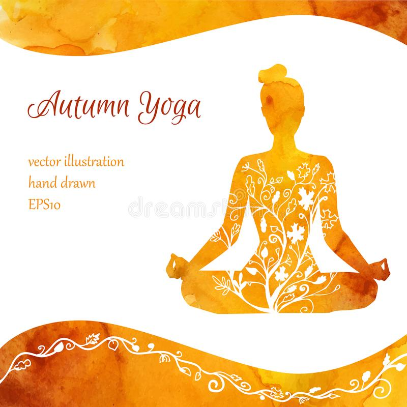 Vector card template of yoga classes royalty free illustration