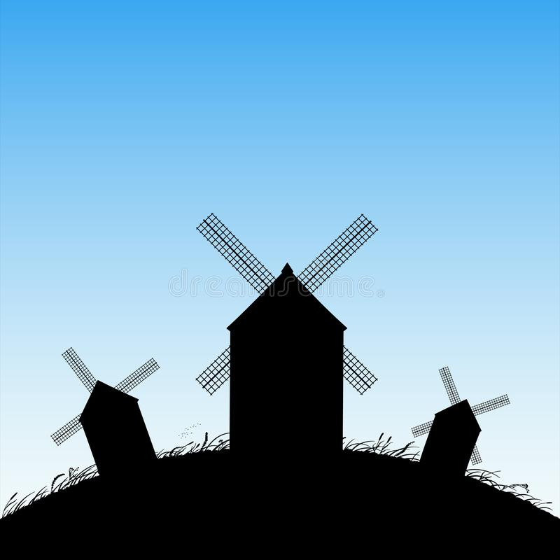 Windmills in field. Vector illustration with silhouettes of mills on hill. Summer rural landscape. Blue pastel background