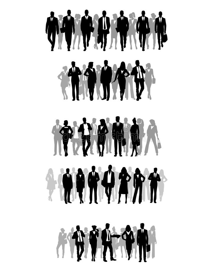 Several groups of businessmen stock illustration
