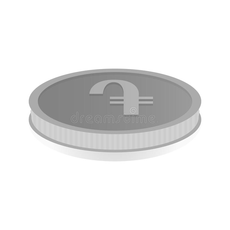 Vector illustration of a silver coin with symbol of amd, dram.  royalty free illustration