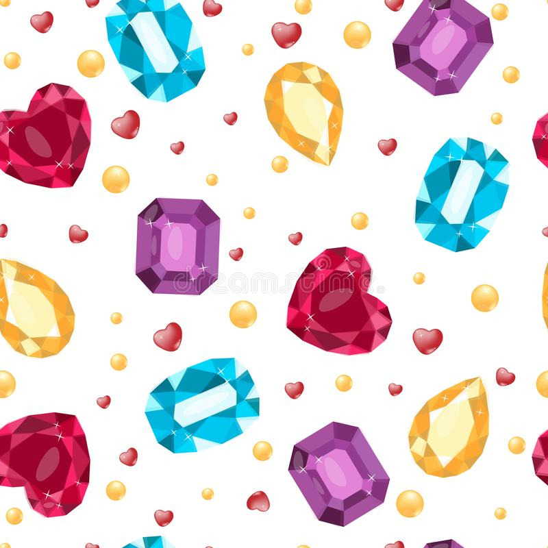 Vector illustration of simles gems pattern. Ruby, Topaz, opal, aquamarine. Gift, decoration, card, certificate, occasion, invitati vector illustration