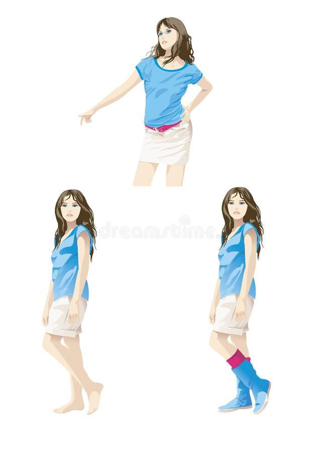 Vector illustration, simple girl wearing. royalty free illustration
