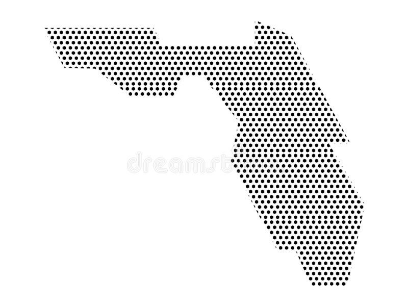 Simplified Dotted Pattern Map of US State of Florida. Vector illustration of the Simplified Dotted Pattern Map of US State of Florida vector illustration