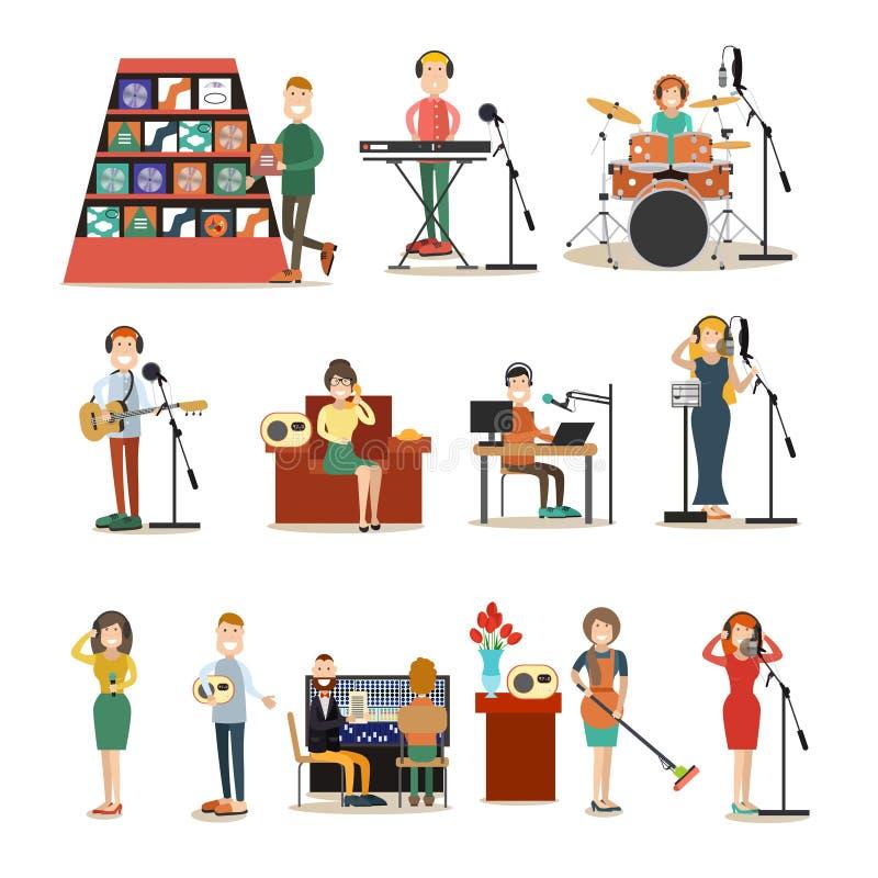 Radio people vector flat icon set royalty free illustration