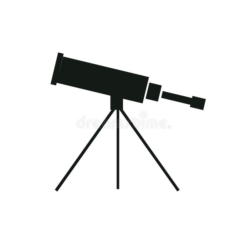Vector illustration single flat black telescope with tripod isolated on background. Icon for planetarium, observatory. Learning astronomy, astrophysics science vector illustration