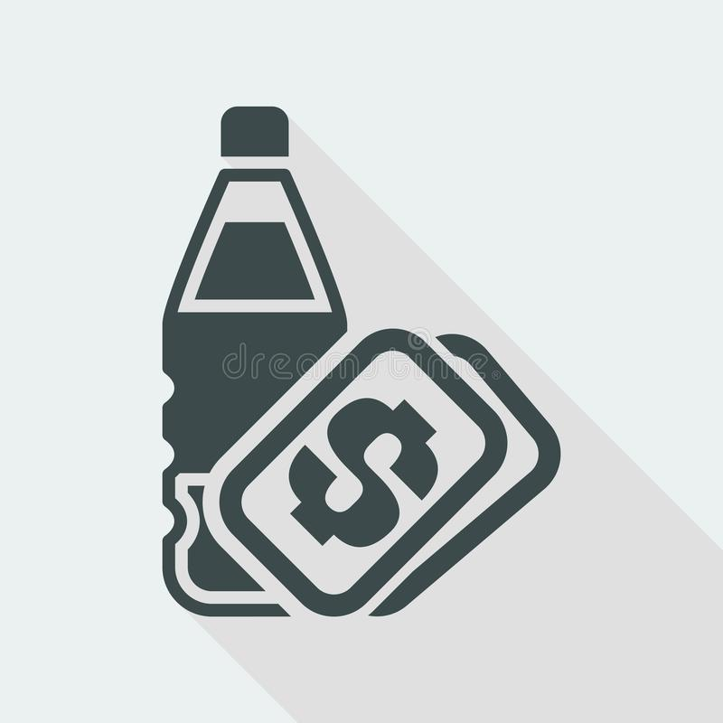 Vector illustration of single isolated bottle price icon royalty free illustration