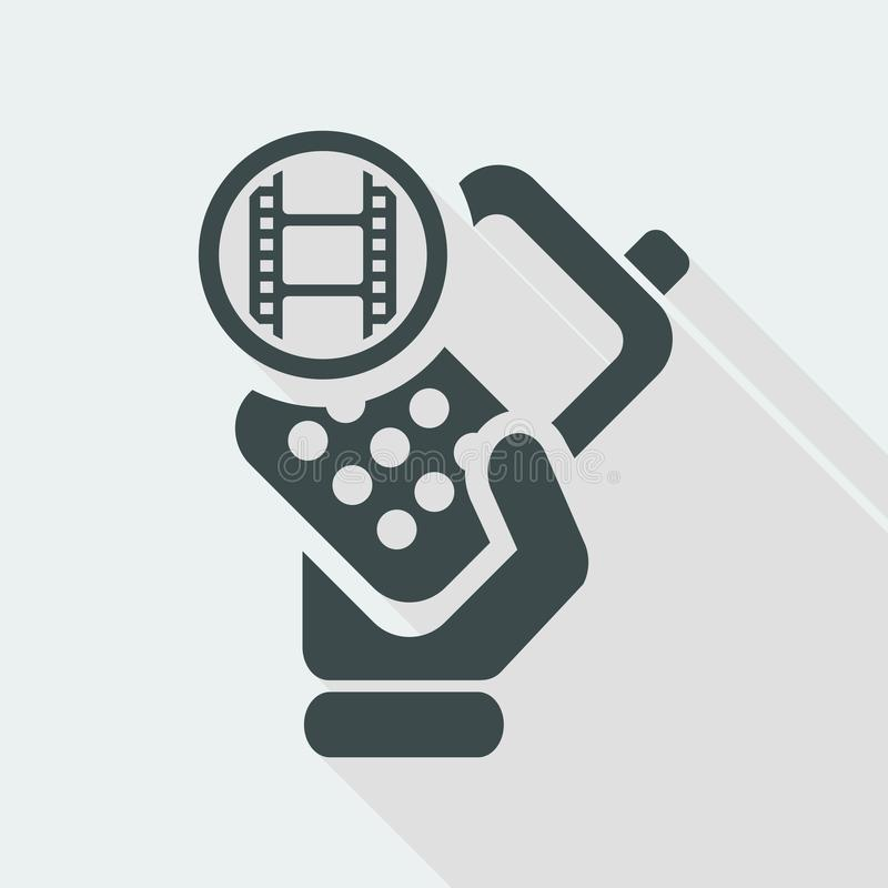 Vector illustration of single isolated phone video icon. Flat and isolated vector eps illustration icon with minimal design and long shadow royalty free illustration