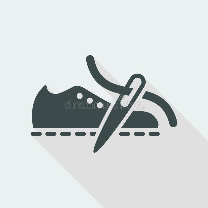 Vector illustration of single isolated shoe or repair production icon stock illustration