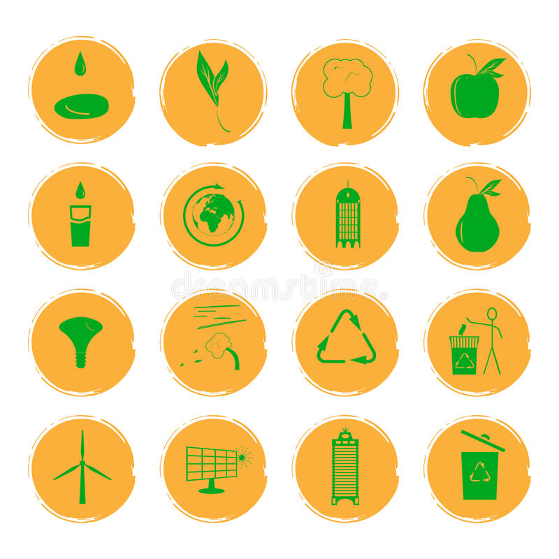 Vector illustration of sixteen yellow grunge icons with green images illustrating the concept of an eco-friendly city royalty free illustration
