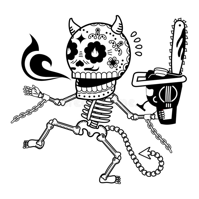 Vector illustration of skeletons. Demon with a chainsaw. Calaveras. Vector flat and linear Illustration of skeleton. Web banners, advertisements, brochures royalty free stock image