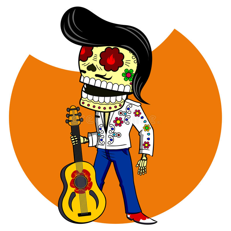 Vector illustration of skeletons. Musician with the guitar. Elvis King of Rock and Roll. Vector flat and linear Illustration of skeleton. Web banners stock illustration