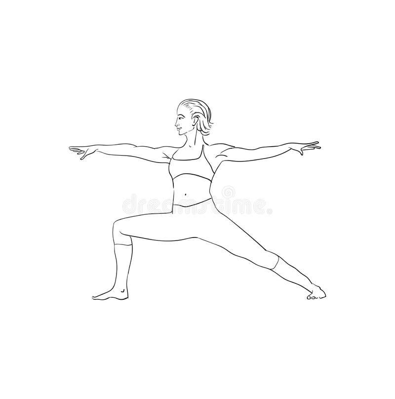 Beautiful woman doing yoga sketch, black on white royalty free illustration