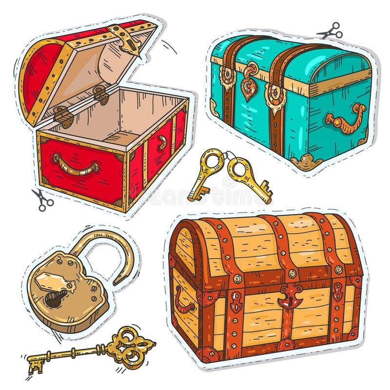 Colorful sticker, set old pirate chests with lock and keys royalty free illustration