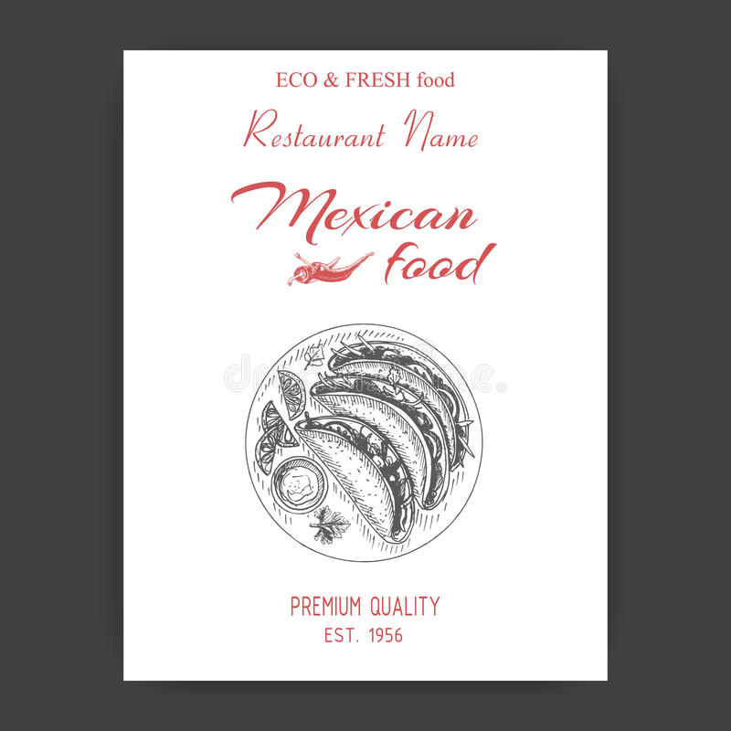 Vector illustration sketch - Mexican food. Card Menu mexican cuisine. vintage design template, banner tacos. Vector illustration sketch - Mexican food. Card stock illustration