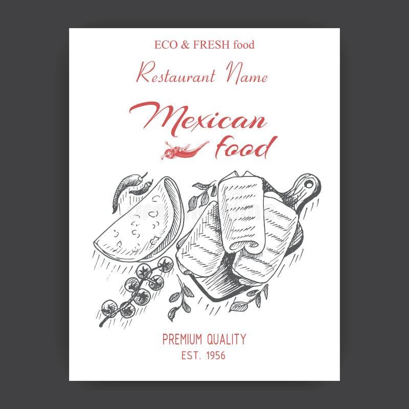 Vector illustration sketch - Mexican food. Card Menu mexican cuisine. vintage design template, banner - burrito. Vector illustration sketch - Mexican food. Card vector illustration