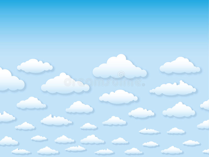 Vector illustration sky with clouds in cartoon sty royalty free illustration