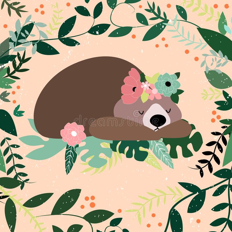 Vector illustration with sleeping bear ,leaves, branches and flower. Lovely cute children illustration. Kids illustration royalty free illustration