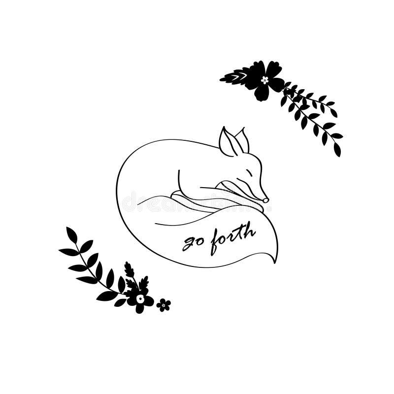 Sleeping fox sketch royalty free illustration