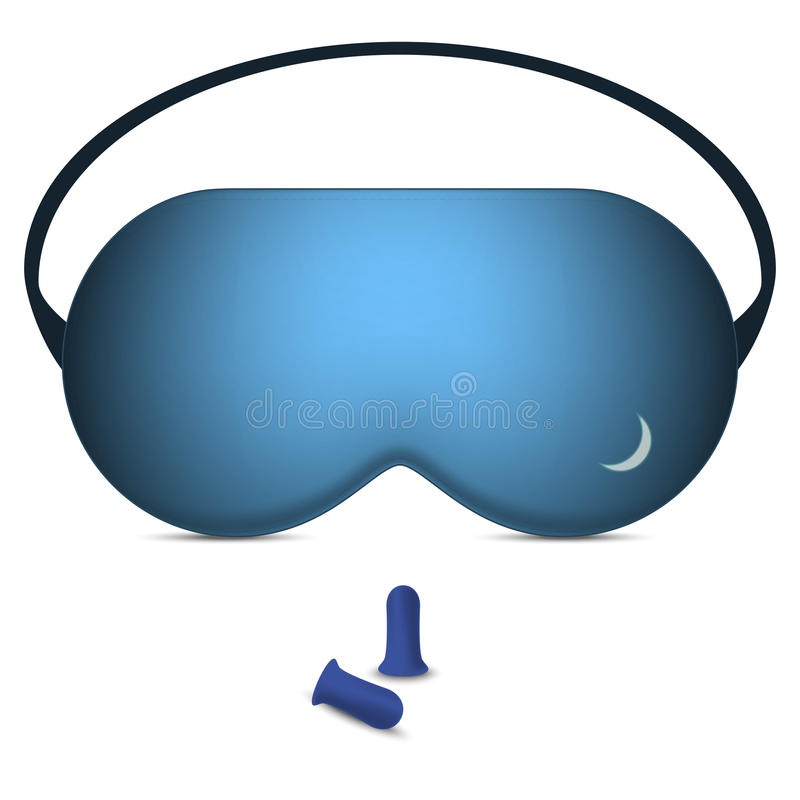 Vector illustration of sleeping mask and pair of foam earplugs royalty free stock images