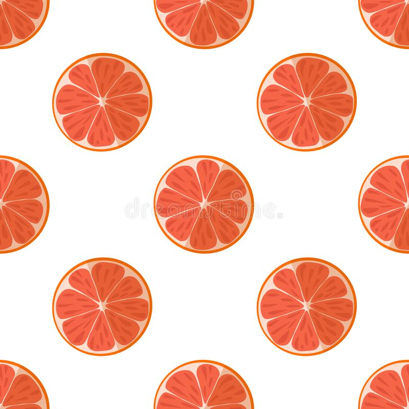 Vector illustration of slices of grapefruits on a light background. Bright fruit seamless pattern with a juicy grapefruit image. vector illustration