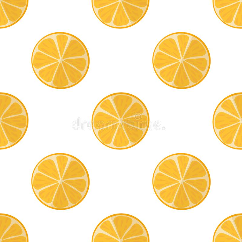 Vector illustration of slices of oranges on a light background. Bright, seamless pattern with a juicy orange. Vector illustration of slices of oranges on a royalty free illustration