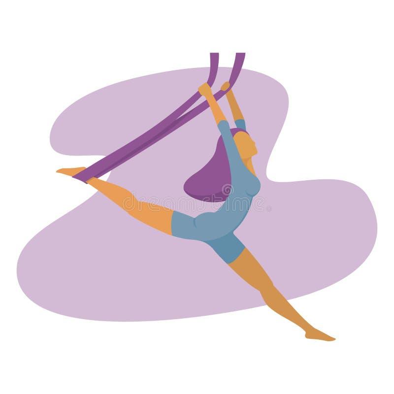Vector illustration of a slim girl practicing air yoga vector illustration