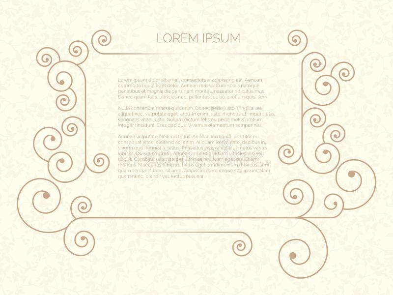 Vector illustration of small minimal frame for text on beige background. stock illustration