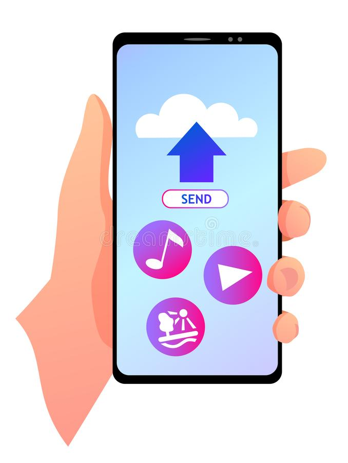 A smartphone with cloud and icons on a blue screen. A vector illustration of a smartphone in a hand with cloud and icons on a blue screen. Music, video and royalty free illustration