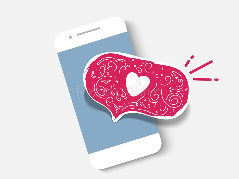 Vector illustration smartphone with heart emoji speech bubble get message on screen. Social network and mobile device stock illustration