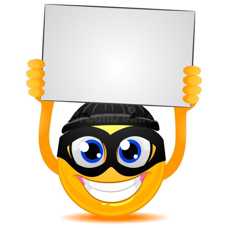 Happy Smiley Emoticon With Blank Sign Stock Vector