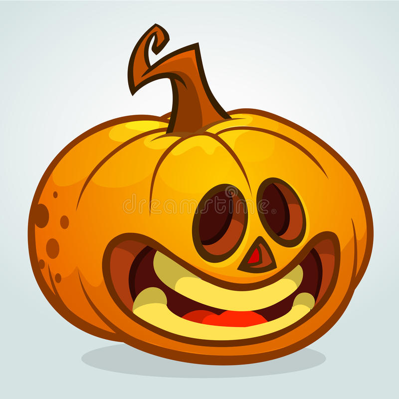 Vector illustration of smiley face carved in pumpkin for Halloween. Vector isolated royalty free illustration