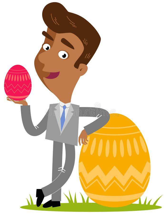 Vector illustration of a smiling asian cartoon businessman leaning against colorful easter egg vector illustration