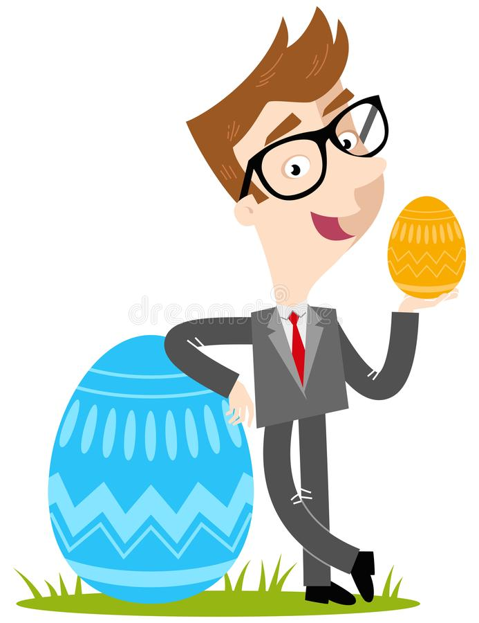 Vector illustration of a smiling caucasian cartoon businessman leaning against colorful easter egg vector illustration