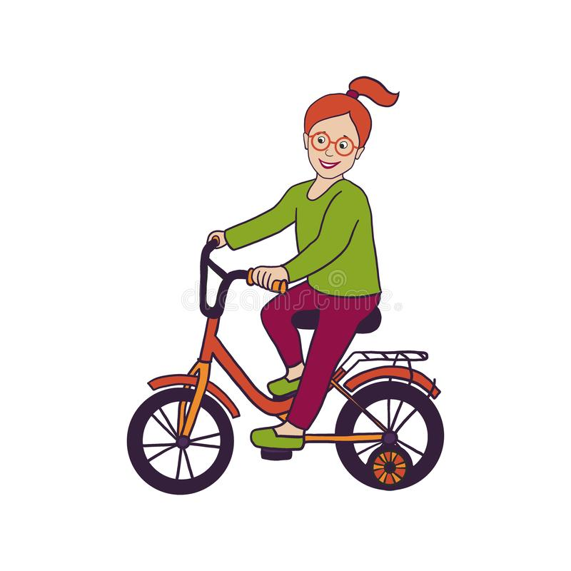 Vector illustration with smiling little girl in eye glasses riding bicycle with stabilisers, isolated on white. Hand drawn toddler. Girl with red hair, dressed royalty free illustration