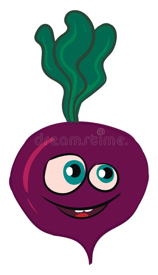 Vector illustration of a smiling purple beet with green leaves. White background royalty free illustration