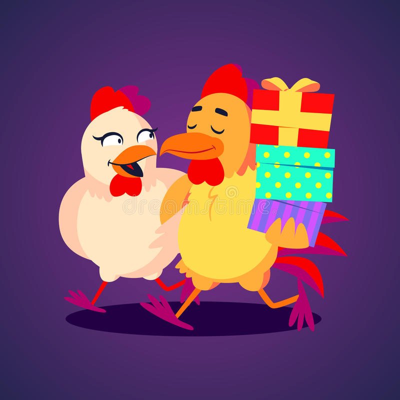 Vector illustration. A smiling rooster and hen carrying gift boxes in funny cartoon style royalty free illustration