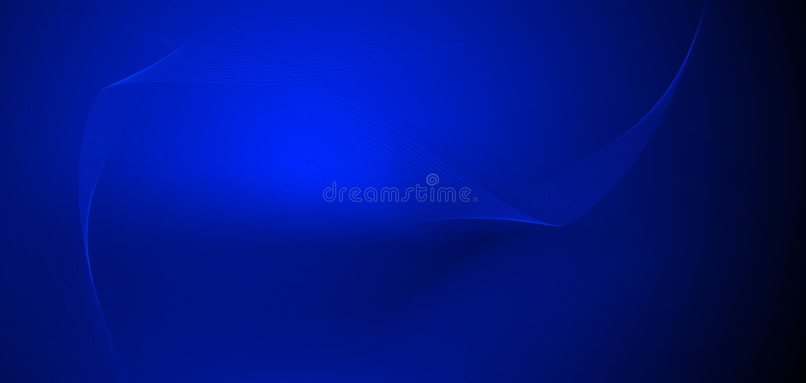Vector illustration smooth lines in dark blue color background. Hi tech digital technology concept. Abstract futuristic, shiny royalty free illustration