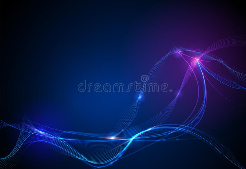 Vector illustration smooth lines in dark blue color background. Hi tech digital technology concept. Abstract futuristic, shiny lines background stock illustration