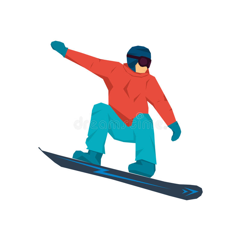 Vector illustration of snowboarder in jump vector illustration