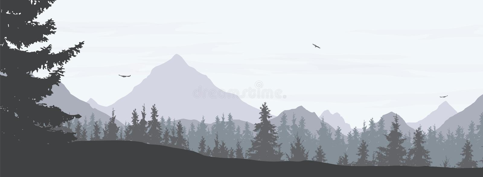 Vector illustration of a snowy winter mountain landscape with co royalty free illustration