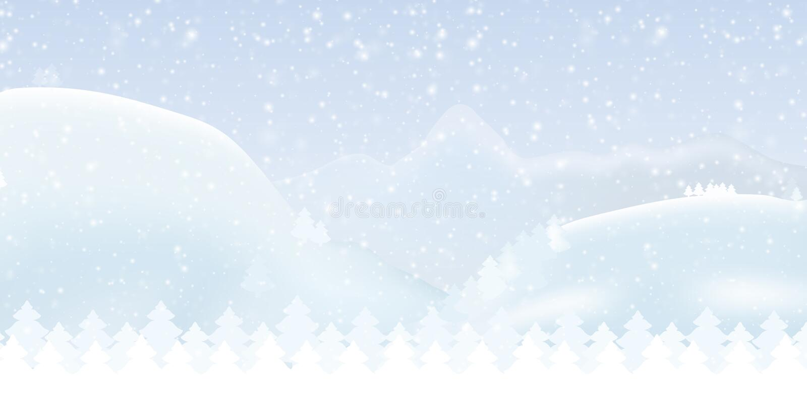 Vector illustration of a snowy winter mountain landscape with forest, sky and falling snow - suitable as a Christmas greeting card royalty free illustration