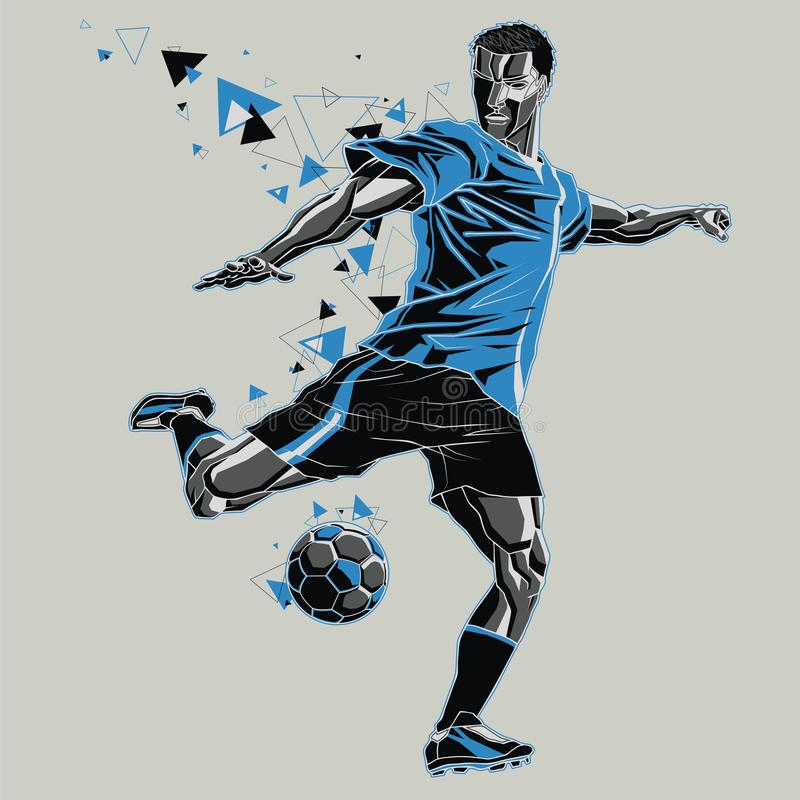 Soccer player with a graphic trail, blue and black uniform. Vector illustration of a soccer player in action, isolated gray background. This vector clip art vector illustration
