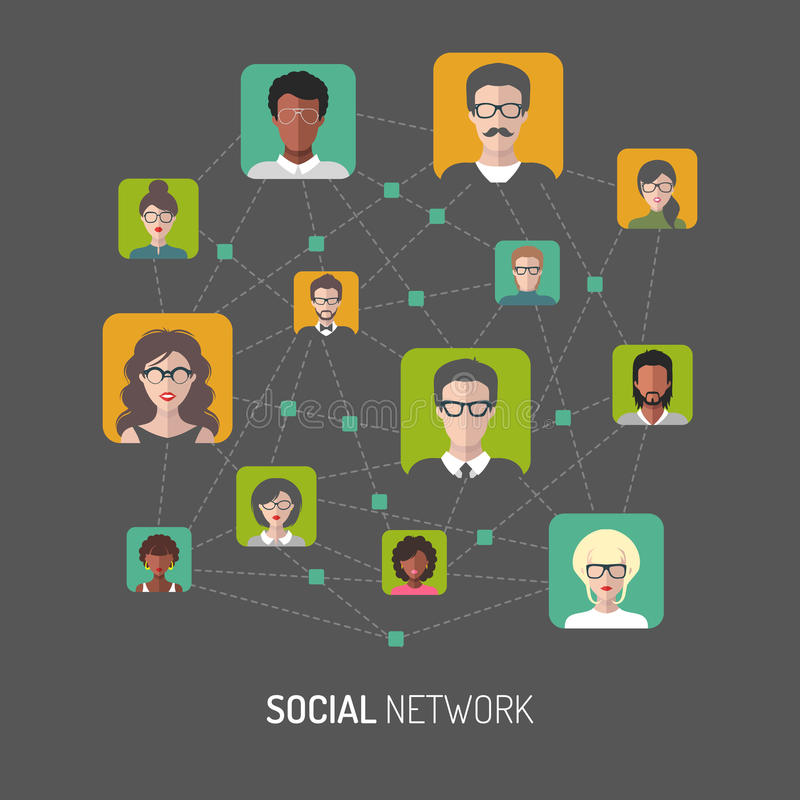 Vector illustration of social network, global people internet connection, men app icons in flat style. Vector illustration of social network, global people royalty free illustration