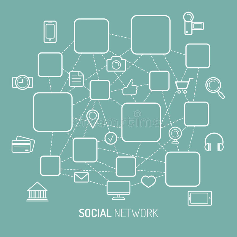 Vector illustration of social network, internet connection, social media icons and places for men icons in flat style. Vector illustration of social network stock illustration