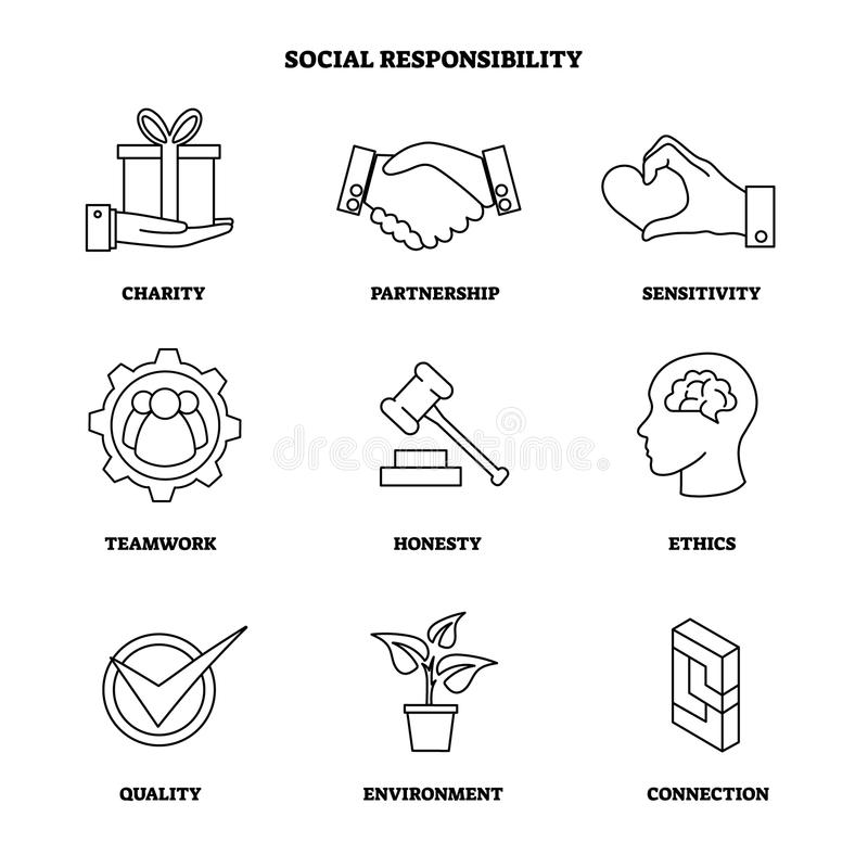 Vector illustration with social responsibility outlines icon set. Collection with charity and ethics symbols. Company CSR basics. vector illustration