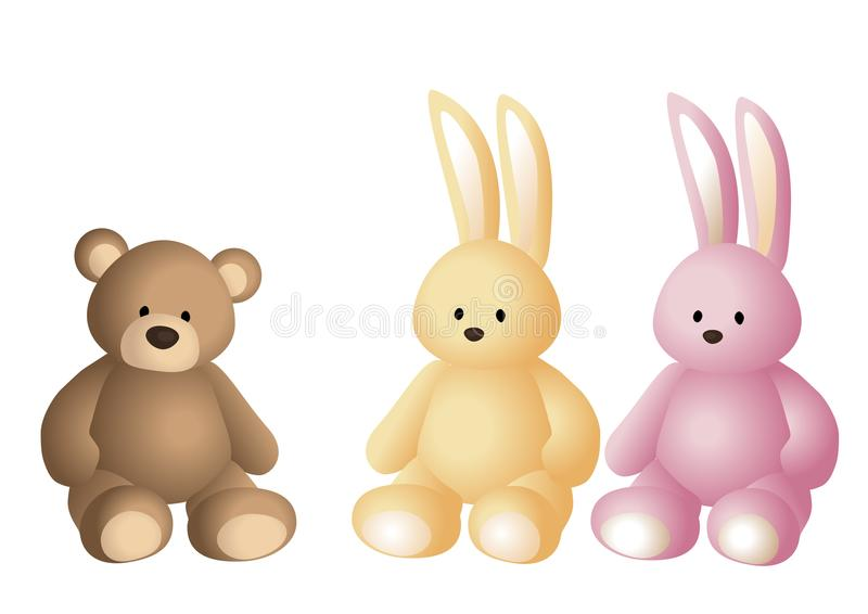 Vector illustration of soft toys: brown teddy bear, vanilla colored hare and pink hare stock illustration