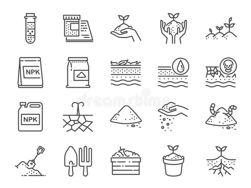 Soil line icon set. Included the icons as earth, compost, land, dirt, ground and more. stock illustration