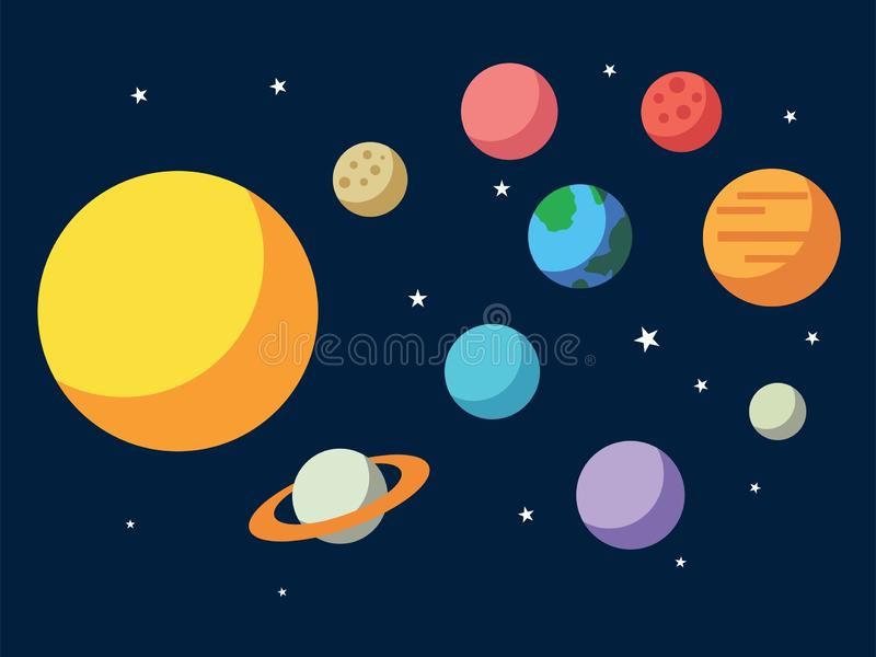 Vector illustration of Solar system. All planets Sun Mercury Venus Moon Earth Mars in the sky. Space, universe galaxy astronomy sc royalty free illustration
